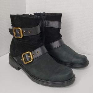 Munro Black Suede & Leather Side Zip Boots